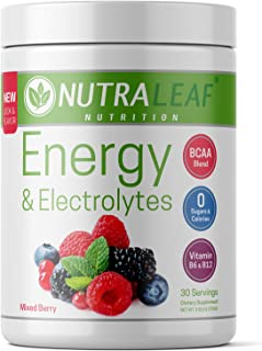 NutraLeaf Energy & Electrolytes Vegan Pre-Workout BCAA Powder Drink with Caffeine & Beta Alanine - Plant-Based, Keto-Friendly, All-Natural, Non-GMO, Gluten & Sugar Free - Mixed Berry (30 Servings)