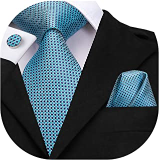 Dubulle Mens Plaid Necktie and Hankerchief Set Woven Silk Tie for Business