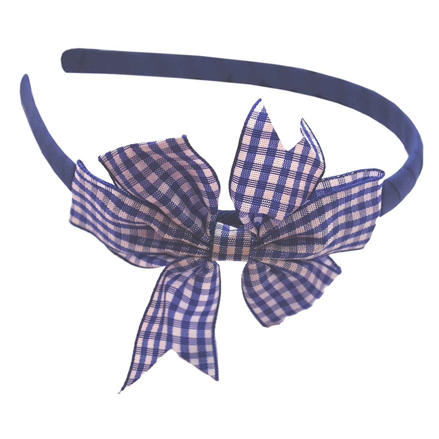 Royal Blue Hairband Headband Alice Band Royal Blue Gingham Bow School Uniform