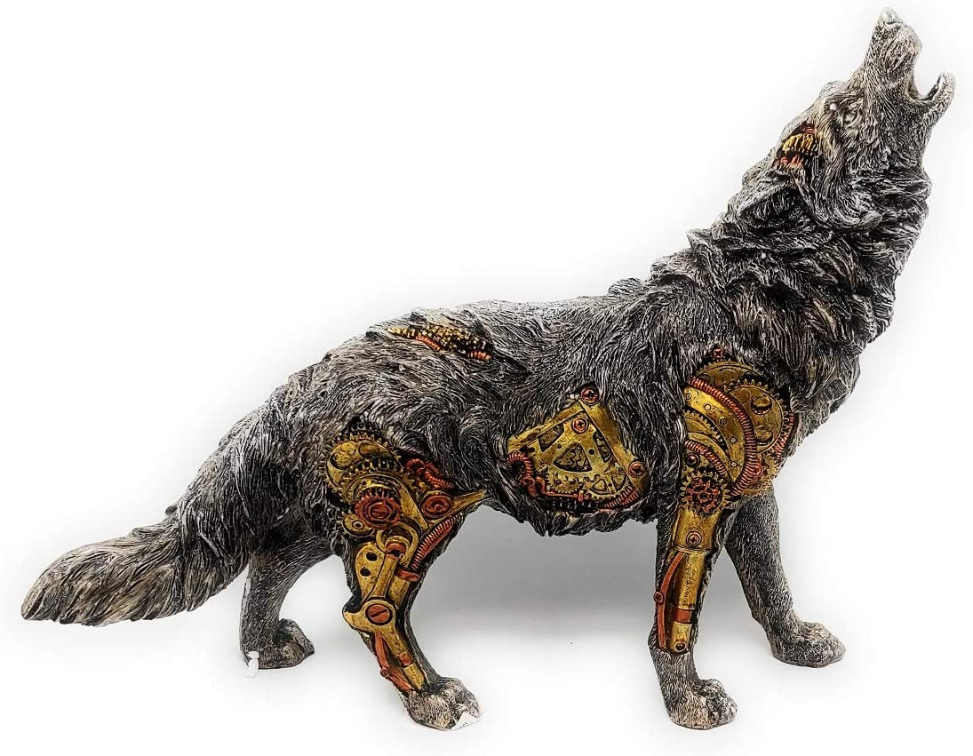 Max 66% OFF Collectible Hand Painted Silver Gold Copper Regular store Howling Steampunk Wo