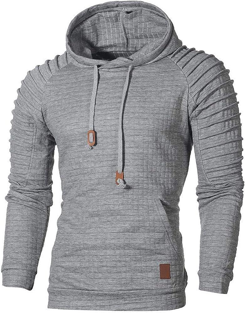 Mens Hoodies Athletic Pullover Tops Mens Hooded Casual Long Sleeve Sweatshirt Drawstring Pocket Sport Pullover