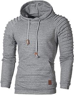27962d3032b Beautyfine Men s Hoodie T-Shirt Hooded Sweatshirt Short Sleeve Plaid Top  Fashion Tee Outwear Blouse