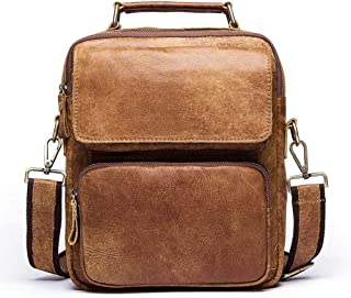 New Men's Baotou Layer Oxhide Bag Men's Leather Vertical Cross-Body Bag Single Shoulder Bag Retro (Color : Khaki, Size : S)