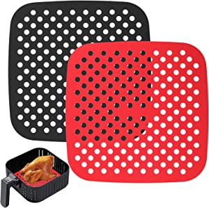 Mity rain Reusable Air Fryer Liners Silicone, 7.5 Inch Square Non-Stick Basket Mats Accessories, Bamboo Steamer Liners, for 5.7 QT & Larger Air Fryers, Replacement for Parchment Paper - (2 Packs)