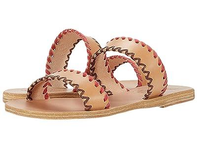 Ancient Greek Sandals Melia Stitch (Natural/Coral Vachetta Suede) Women