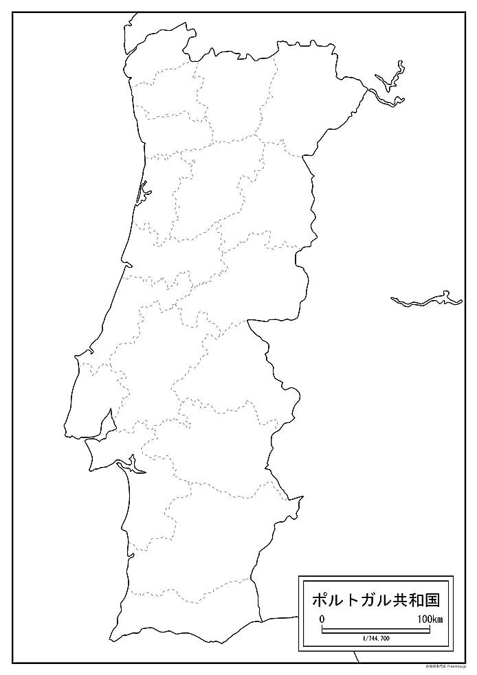 葉を集めるパラシュート不振ポルトガルの白地図 A1サイズ 2枚セット