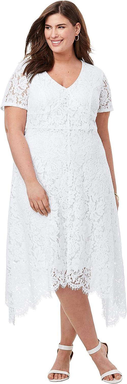 Jessica London Women's Plus Size Lace Handkerchief Dress