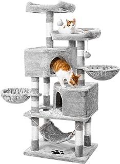 キャットタワー 人気 猫タワー 巨大サイズ ネコタワー 大型猫 多頭飼い 2つ猫ハウス ハンモック 猫 遊び場 頑丈耐久 段差あり 天然サイザル麻 匂いなし (グレー)