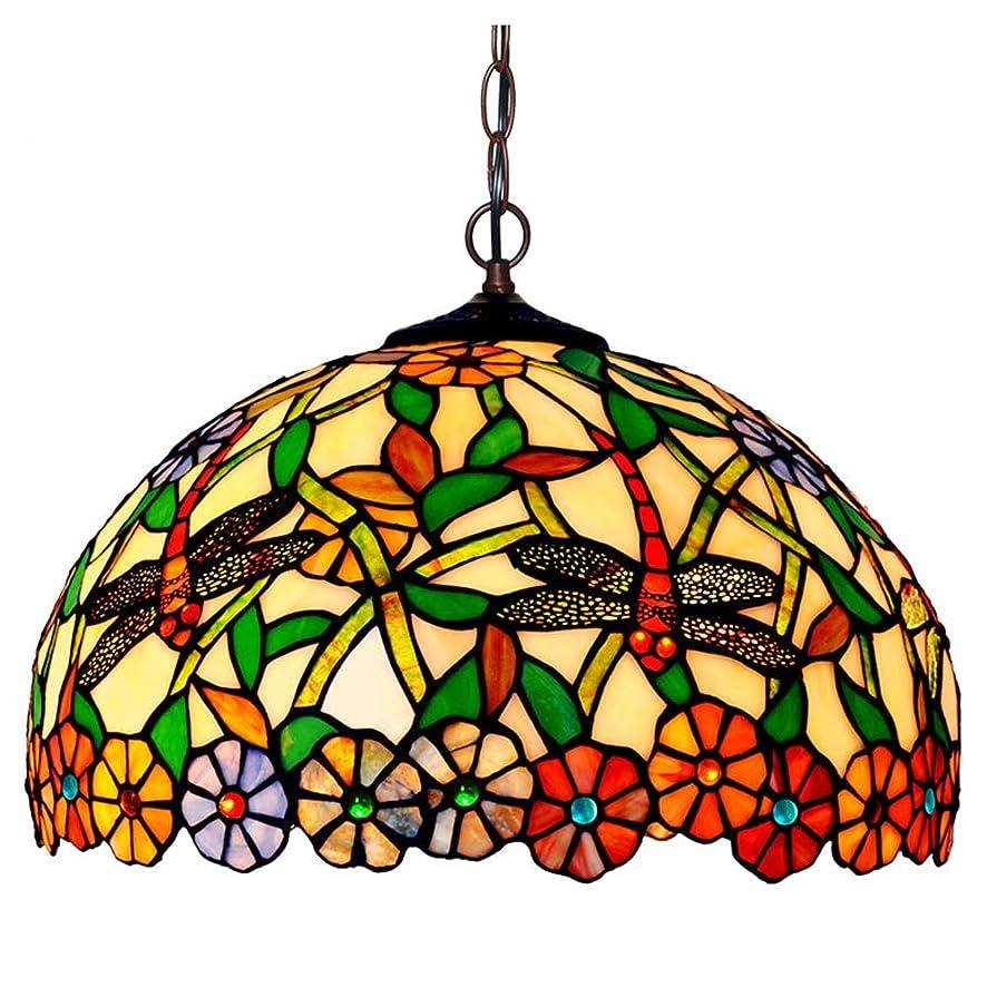 割り当てる理解する計算ティファニースタイルのシャンデリア、16インチトンボデザイン装飾的な天井ペンダントランプ、リビングルームのダイニングルームステンドグラスの寝室のシーリングライト、E27 MAW 60W * 1