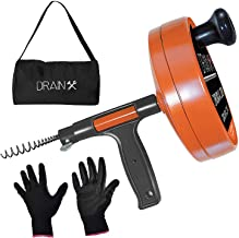 DrainX Drain Auger Pro | Heavy Duty Steel Drum Plumbing Snake with 25-Ft Drain Cleaning Cable | Comes with Work Gloves and...