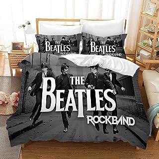 Double Duvet Cover,3D Printing The Beatles Pattern Microfiber Bedding ,3PCs Duvet Cover Sets - The Beatles 1