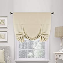 H.VERSAILTEX Beige Tie Up Curtains Blackout Thermal Insulated Energy Efficient Shade Home Decoration Solid Rod Pocket Window Treatment for Kids' Room, Highly Durable (42W x 63L, Set of 1)