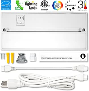 Britelum 9 Inch, 3-in-1 Color Temperature: Dimmable LED Under Cabinet Lighting; 2700K/ 3500K/ 4000K w/ CRI90+, Hardwired or Plug in, Energy Star, CA T24, ETL Listed,120V 4W 200 Lumens, White Finish