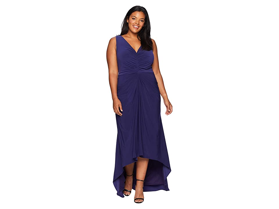 Adrianna Papell Plus Size High-Low Draped Front Jersey Gown (Admiral Blue) Women