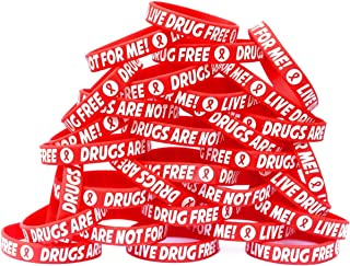100 Child Size Live Drug Free Wristbands - Drugs are Not for Me Bracelets - Red Ribbon Week Bands