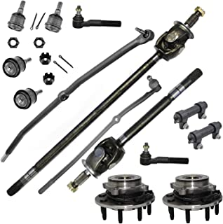 Detroit Axle - 14pc Front CV Axle Shafts + Wheel Hub & Bearings Assembly + Lower & Upper Ball Joints + Inner Outer Tierods Suspension Kit for 2006-2007 Dodge RAM 2500 3500-4WD