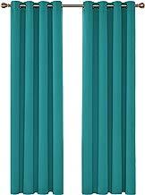 Deconovo Cortinas de Salón y Dormitorio Moderno Aislantes Térmicas con Ojales 2 Piezas 140 x 260 cm Turquesa