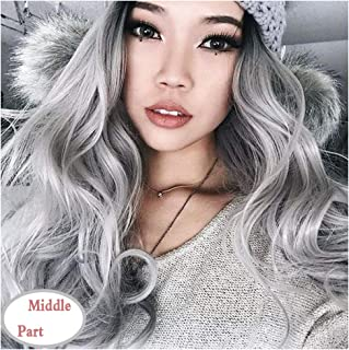 Lady Miranda Ombre Gray Long Wave High Density Black Root Wig Heat Resistant Synthetic Hair Wigs(black&gray)