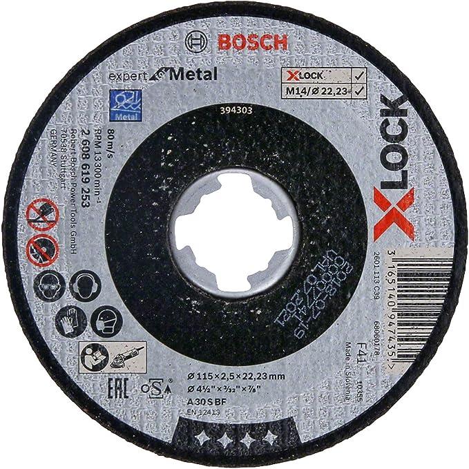 Bosch Professional 2608619256 Disque /à Tron/çonner /à Moyeu D/éport/é  Expert for Metal pour les M/étaux, X-LOCK, /Ø/115/mm, Al/ésage/: 22,23/mm, /Épaisseur/: 2,5/mm