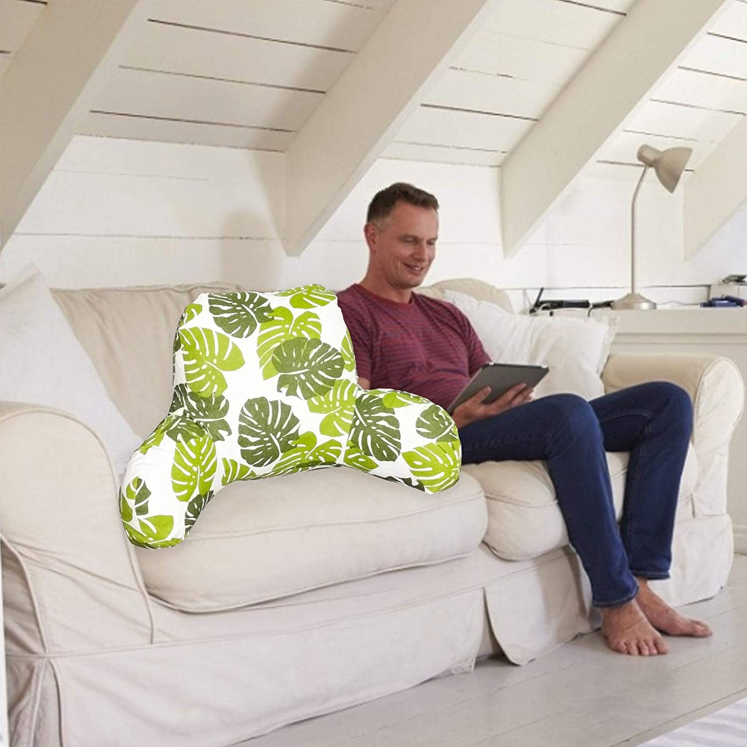 Owlhouse Reading Pillow with Armrest Premium Printed TV Watching Pillow Great As Backrest for Books Or Gaming for Kids /& Teens Petite Back Pillow