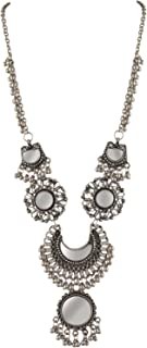 Zephyrr Fashion German Silver Beaded Long Pendant Mirror Necklace for Girls and Women