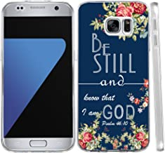 S6 Case Christian Sayings, Hungo Soft TPU Silicone Protective Cover Compatible with Samsung Galaxy S6 Bible Verses Vintage Red Design Personalized Be Still and Know That I am God Psalm 46:10