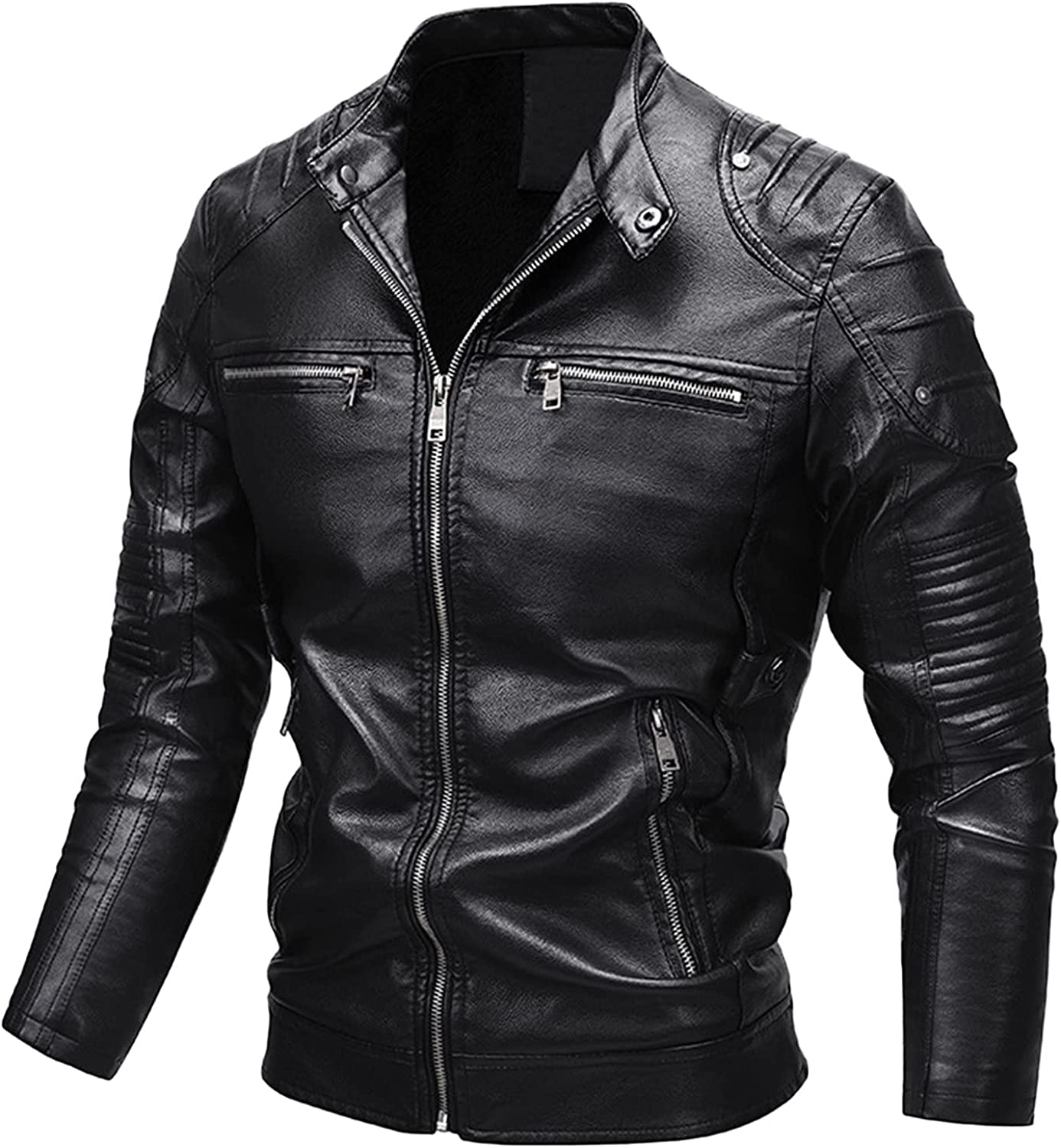 Men's Vintage Stand Collar Leather Jacket Motorcycle PU Faux Leather Outwear