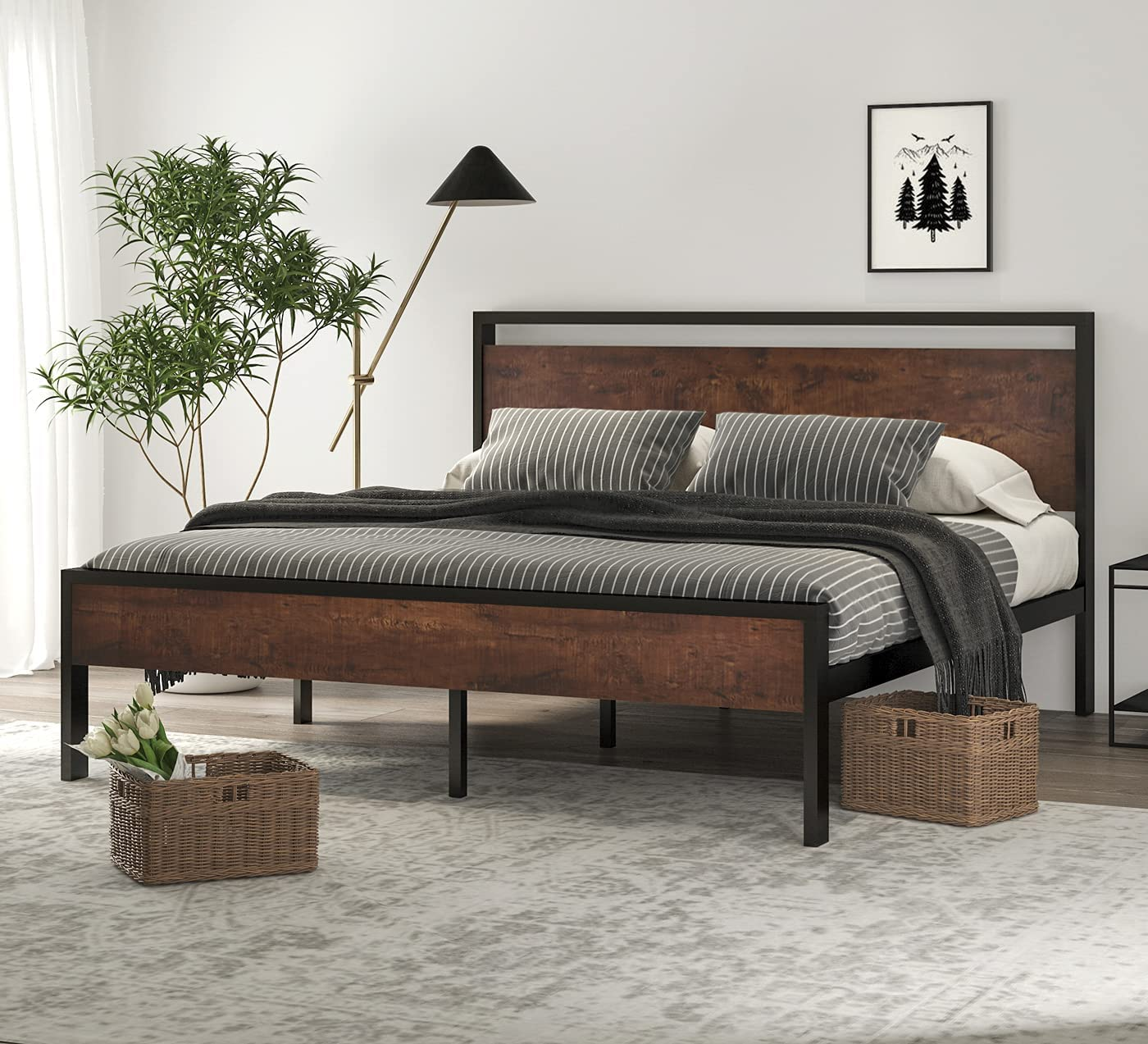 SHA CERLIN 14 Inch King Size Frame with Platform 100% quality warranty Bed Metal Woode All stores are sold
