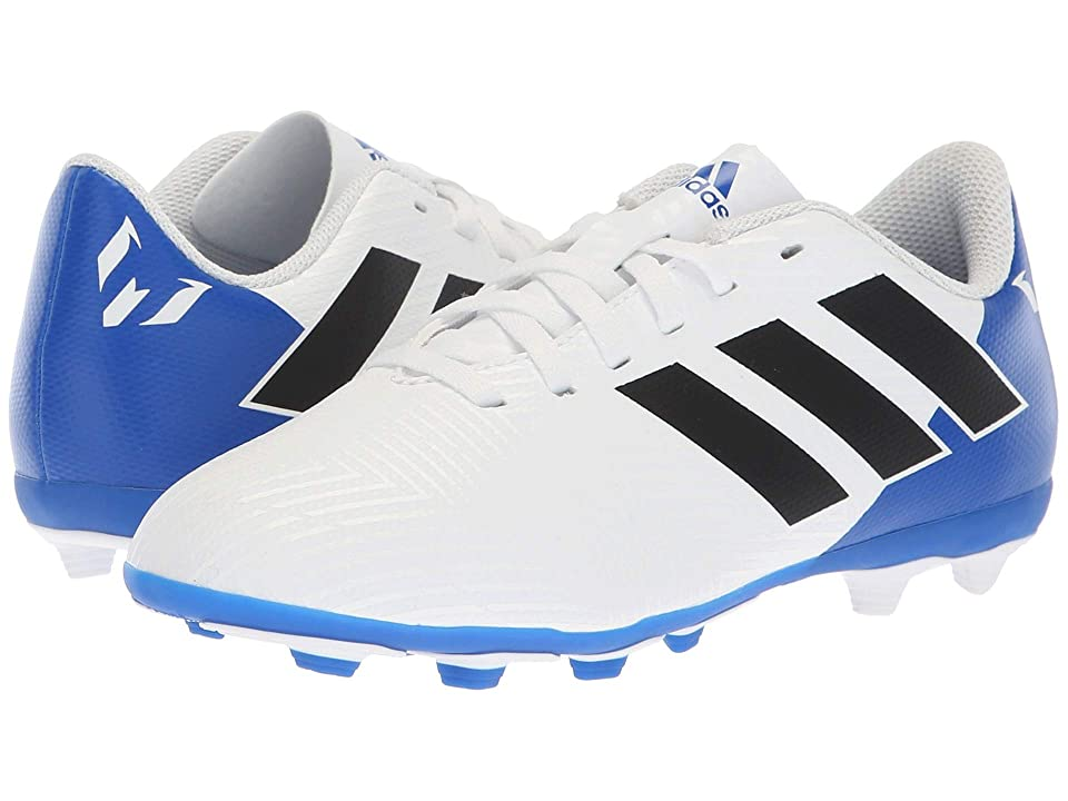 adidas Kids Nemeziz Messi 18.4 FXG Soccer (Little Kid/Big Kid) (White/Black/Blue) Kids Shoes