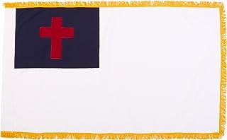 インドアポールヘムとフリンジコットン、3フィート×5フィートのオンラインストアのChristian Flag