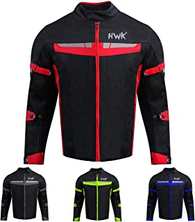 HWK Mesh Motorcycle Jacket Riding Air Motorbike Jacket Biker CE Armored Breathable (X-Large, Red)