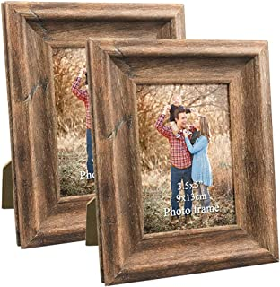 Dreamyard 3.5x5 Picture Frames Set of 2 Vintage Brown Wood Rustic Family Art Photo Frame for Vertical Horizontal Tabletop Standing or Wall Hanging