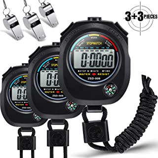 3 Pieces Digital Stopwatch Timers 2 Split Memory Handheld Multi-Functional Electronic Sport Stopwatches with 3 Pieces Metal Whistle for Coach Training,  Fitness