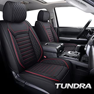 Aierxuan Tundra Car Seat Covers Full Set Custom Fit 2008-2021 Crewmax Double Cab Truck Pickup Waterproof Leather Seat Cushions Compatible with Split Bench 40/60(Full Set/Black-Red)