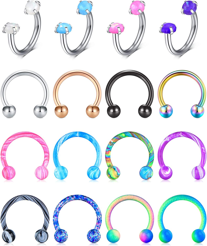 Incaton 16G Septum Rings Stainless Steel Horseshoe Nose Septum Lip Rings Piercing Jewelry Cartilage Helix Tragus Hoop Earring Piercing for Women Men 8mm