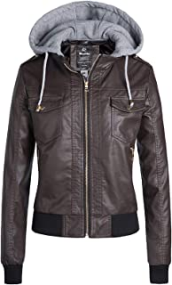 Wantdo Womens Faux Leather Jacket Motorcycle Jacket Short PU Jacket with Removable Hood