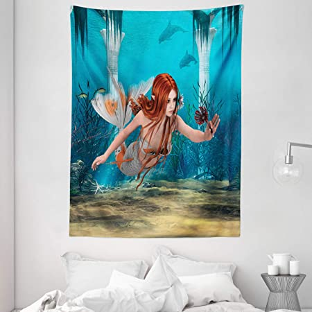 Amazon Com Ambesonne Underwater Tapestry Fantasy Mermaid In The Deep Water Swimming Up To The Surface Sun Rays Artwork Print Wall Hanging For Bedroom Living Room Dorm Decor 60 X 80 Dark Blue