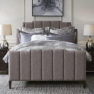 Madison Park Wesley Frame with Headboard and Footboard Modern Upholstered Bed Set, King, Dark Grey