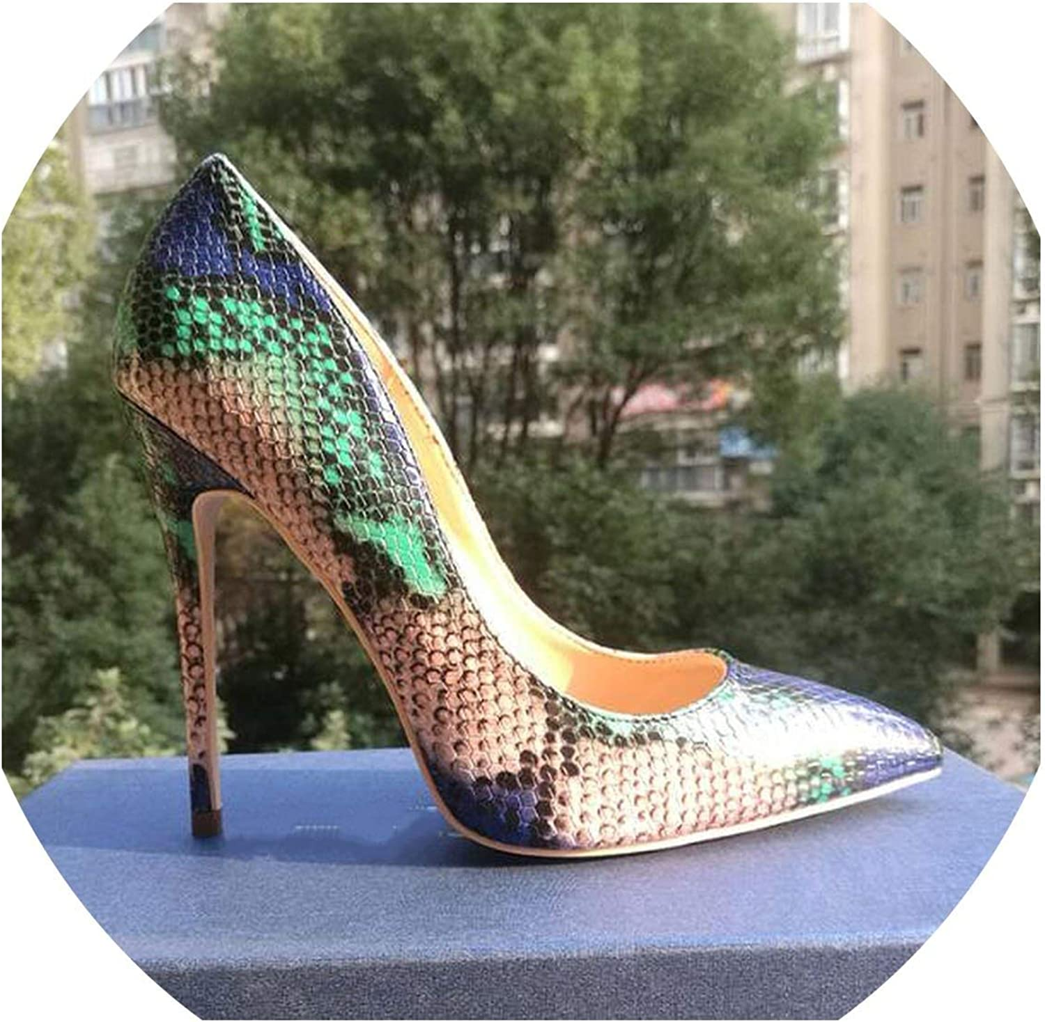 Pleasantlyday Snake Printing Women High Heels Fashion bluee Sexy shoes