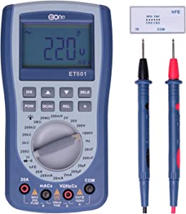 EONE Multimeter Digital Tester DIY Kit Oscilloscope Manual and Auto Measures Current  Resistance  Capacitance Frequency  Test Diodes  Transistors  AC DC Voltage with LCD Backlight  ET601