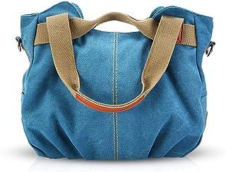 NICOLE & DORIS Canvas Tasche Damen Tragetaschen für Damen Schultertaschen Umhängetasche Leinwand Handtasche Mädchen Blau