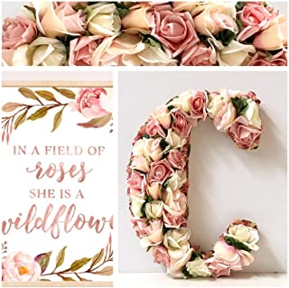 Large Flower Letter, Made with Artificial Silk Flowers on wood base,13.5