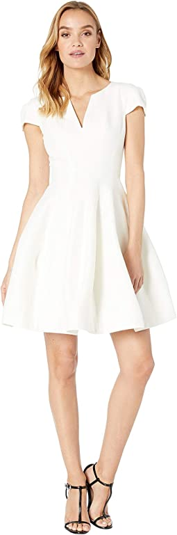 Short Sleeve Notch Neck Dress with Tulip Skirt
