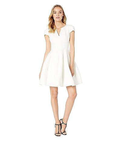 Halston Heritage Short Sleeve Notch Neck Dress with Tulip Skirt (Chalk) Women