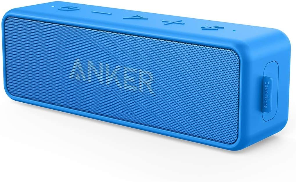 Anker SoundCore 2 12W Portable Wireless Bluetooth Speaker: Better Bass, 24-Hour Playtime, 66ft Bluetooth Range, IPX5 Water Resistance & Built-in Mic, Dual-Driver Speaker (Renewed)