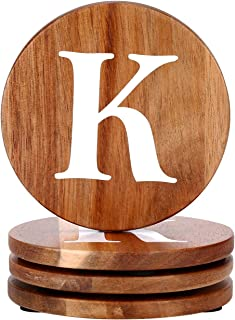 Personalized Gifts Round Coaster Natural Acacia Wood Wooden Coaster Set of 4 for Drinks in Office, Home and Cottage, Bar, Restaurant, Wine Glasses, Cups& Mugs, Customizable with Name