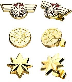 Captain Marvel Stud Earrings Set