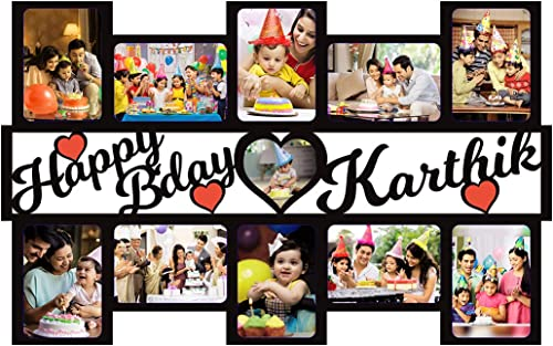 GiftsWale Happy Birthday Your Images & Names Customized Wall Collage Photo Frame   Personalized With Pictures And Tex...