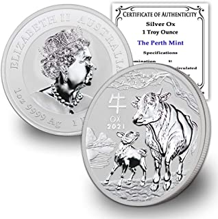 2021 AU 1 oz Silver Australian Lunar Ox Coin Brilliant Uncirculated with Certificate of Authenticity by CoinFolio $1 BU
