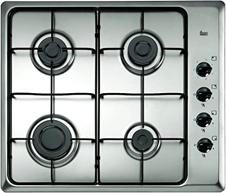 Teka Placa de Gas butano con 4 quemadores y parrillas esmaltadas en 60 cm, Acero inoxidable, 580 mm de anchura (40229080)